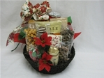 This round holiday gourmet basket includes: