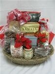 This oval holiday gourmet basket includes: