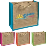 100% Jute with laminated backing Durable braided handles Contrasting color side panels and trim