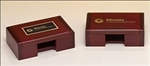 Rosewood-finish business card holder box.  Laser engravable black plate included.  Makes for a wonderful executive gift!  Individually gift boxed.