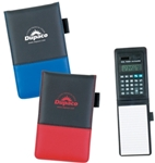 Rubberized PVC jotter with calculator includes dual battery solar and button cell batteries Optional pen available