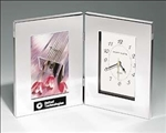 Combination clock and photo frame in polished silver aluminum.  Includes a black aluminum laser engravable plate for personalization.  Individually boxed.  *NOTE: Polished silver aluminum gifts can be mechanically engraved.