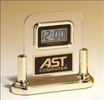 LCD movement clock in acrylic upright with brass posts.  Makes a wonderful executive gift!  Includes a laser engravable plate for personalization.  Individually boxed.