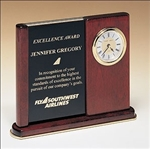 Versatile clock features two black brass engraving plates to accommodate extra copy.  Supplied with Lifetime Guaranteed Quartz Movement.  Batteries included.  Individually boxed.