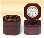 Rosewood piano-finish desktop clock with velour lined storage area makes for a wonderful executive gift!  Laser engravable disc included.  Batteries included.  Individually boxed.