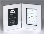 Polished silver aluminum picture frame with clock and black aluminum engraving plate.  Ample personalization area & sleek design make this a wonderful gift!  Individually boxed.  *NOTE: Polished silver aluminum gifts can be mechanically engraved.