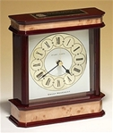 High gloss mahogany and burl finished mantle clock featuring three hand sweep movement and traditional dial.  Laser engravable black plate included.  Makes for a wonderful executive gift!  Batteries included.  Individually boxed.