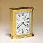 This handsome quartz clock features a metal goldtone case and three hand movement.  Includes a black brass engravable plate.  Supplied with Lifetime Guaranteed Quartz Movement.  Batteries included.  Individually boxed.