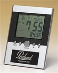 Multi-function digital clock with calendar, alarm, thermometer and world time capability.  Easel back.  Laser engravable aluminum plate included.  Makes for a wonderful executive gift!  Batteries included.  Individually gift boxed.