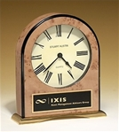 Large table top quartz clock with burl-finish case and polished gold metal base.  Includes a black brass engravable plate.  Supplied with Lifetime Guaranteed Quartz Movement.  Batteries included.  Individually boxed.