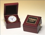 Beautiful goldtone clock in a hand rubbed mahogany finish case with metal goldtone knobs and velour lined lid.  Laser engravable brass plate on lid for personalization.  Individually boxed.