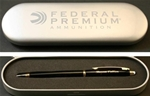 The Euro Pen is sophisticated and smooth. Each pen comes boxed in a sleek aluminum case, which can also be personalized.