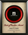 This beautiful Circle of Excellence Award frame features a rich red & black glass plate with within a cream mat. The perfect piece to highlight a big achievement!