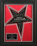 This star-power frame features a black frame with a dynamic die-cut star graphic in a rich red & black velour mat. Includes black star-shaped engraving plate, as well as rectangular engraving plate.