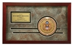 This handsome military medallion frame features a rosewood frame with die-cut mat design. Engraving plate included. Military branch medallion sold separately.