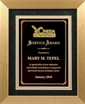 This handsome service award frame features a brushed gold frame with black & gold mat, and a black engraving plate area.