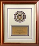 Elegant medallion frame displays your achievement within a piano-finish frame with gold trim and cream mat with blue die-cut accents. Includes gold engraving plate. Medallions sold separately.