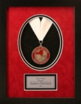 Elegant medallion frame displays your achievement within a black frame with a red & black oval velour 3-dimensional die-cut vignette.  Engraving plate included.