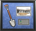 "Handsome groundbreaking ceremonial frame features a black frame with blue velour background and 3-dimensional die-cut shovel graphic. Includes a printed plate area and 4"" x 6"" photo slot."