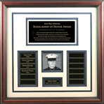 This handsome Scholarship of Honor frame is a wonderful way of memorialize those who have fallen. This frame features a beautiful wooden frame with a white mat with blue trim, 12, perpetual engraving plates for scholarship recipients, as well as 2 additional plates and square photo area.