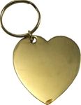 Brass engravable heart shape goldstone key tag.