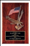 Walnut piano-finish plaque with eagle & flag bronze casting and black brass engraving plate is the ultimate in classic achievement awards.  Solid brass engraving plate included.  Individually boxed.