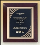 Cherry finish frame with Cascading Gold Swirl engraving plate is the ultimate in recognition plaques.  An elegant presentation product for a distinguished award.  Solid brass engraving plates.  Individually boxed.
