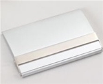 Matte silver business card case with polished silver accent.  This piece is a must-have for any business professional.  Individually gift boxed.