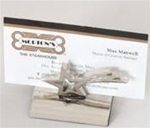 Polished silver star shaped business card holder.  Individually gift boxed.