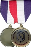 Bright Gold, 1 1/4 Medal can be customized with insert. Attach it to a drape for unique trading item or participation award