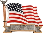 US Flag SilverStone 3-D Color Shields - large. Hand Crafted SilverStone Sculptured Sport Shields are perfect Free-Standing or as a Wall Plaque. The pewter finished resin shield with gold highlights and full color sport icon provide something completely different for your upcoming award event. The 3-D life-like action scene has a ribbon framed area for personalization. NEW ITEM!