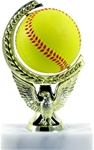 Softball - Spin Squeeze Ball Trophy. The Full Color soft-touch Mini Sport Ball is Spinnable, Squeezable and Removable for added fun. Add color and fun to your presentation with this NEW Product! Gold-tone personalization plate is applied to solid real marble base.