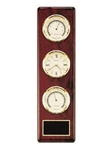 Rosewood-finish weather station includes thermometer, clock and barometer instrumentation.  Solid brass engraving plate included.  Clock supplied with Lifetime Guaranteed Quartz Movement.  Batteries included.  Individually boxed.