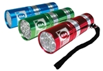 Includes 4 3/4 long wrist strap, 9 ultra bright white LED lights, and 3 AAA batteries