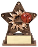 This bronze-colored star with gold trim is the latest in the line of ball burst thru awards. Feel the action as a full colored basketball exits the star. Its sure to make a great impression at your next awards event. Base has an area for gold plate and personalization.