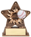This bronze-colored star with gold trim is the newest in the line of ball burst thru awards. Feel the action as a full colored baseball exits the star. Its sure to make a grand slam impression at your next awards event. Base has an area for gold plate and personalization.