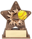 This bronze-colored star with gold trim is the newest in the line of ball burst thru awards. Feel the action as a full colored softball exits the star. Its sure to make a grand slam impression at your next awards event. Base has an area for gold plate and personalization.