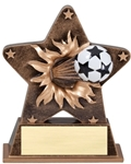 This bronze-colored star with gold trim is the latest in the line of ball burst thru awards. Feel the action as a full colored soccer ball exits the star. Its sure to make a great impression at your next awards event. Base has an area for gold plate and personalization.