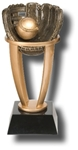Baseball Sports Tower Award. The Antiqued BronzeStone Sport Ball is cradled within a four-pronged bright gold-tone tower, set on an ebony tapered base. The engraving plate is marked to acknowledge your top performersl Available in 3 sizes.