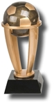 Soccer Ball Sports Tower Award. The Antiqued BronzeStone Sport Ball is cradled within a four-pronged bright gold-tone tower, set on an ebony tapered base. The engraving plate is marked to acknowledge your top performersl Available in 3 sizes.