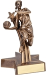 Youll feel like you are still at the game with this Lifelike girls basketball Award. Smartly styled and colored in bronze with gold trim this award is a winner. Unique star shaped base has an area for personalized plate.