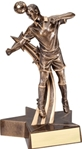 Youll feel like you are still at the game with this Lifelike male soccer Award. Smartly styled and colored in bronze with gold trim this award is a winner. Unique star shaped base has an area for personalized plate.