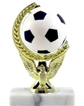 Soccer Ball - Spin Squeeze Ball Trophy. The Full Color soft-touch Mini Sport Ball is Spinnable, Squeezable and Removable for added fun. Add color and fun to your presentation with this NEW Product! Gold-tone personalization plate is applied to solid real marble base.