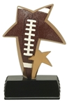 Bronze and Gold trim colored resin star shaped award. This unique, twin-star shaped award in a football motif makes a great participation award. Black base has an area for personalized plate.